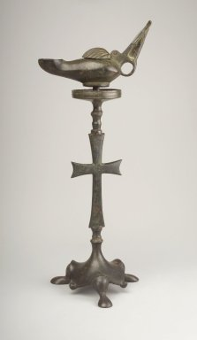 Islamic. <em>Lamp on Separate Pricket Stand</em>, 6th-7th century C.E. Bronze, Lamp: 3 1/2 x 2 3/4 x 6 1/8 in. (8.9 x 7 x 15.6 cm). Brooklyn Museum, Charles Edwin Wilbour Fund, 41.1086a-b. Creative Commons-BY (Photo: Brooklyn Museum, 41.1086a-b_profile.jpg)