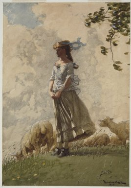 Winslow Homer (American, 1836-1910). <em>Fresh Air</em>, 1878. Watercolor heightened with white opaque watercolor, with scraping and selectively applied glaze, over charcoal on moderately thick, rough-textured wove paper, 20 1/16 x 14 in. (51 x 35.6 cm). Brooklyn Museum, Dick S. Ramsay Fund, 41.1087 (Photo: Brooklyn Museum, 41.1087_SL3.jpg)
