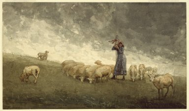 Winslow Homer (American, 1836-1910). <em>Shepherdess Tending Sheep</em>, 1878. Watercolor over graphite with touches of opaque watercolor on cream, thick, rough textured paper, 11 9/16 x 19 3/4 in. (29.4 x 50.2cm). Brooklyn Museum, Dick S. Ramsay Fund, 41.1088 (Photo: Brooklyn Museum, 41.1088_SL3.jpg)