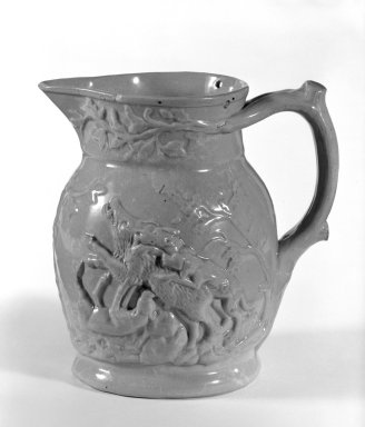 American. <em>Pitcher</em>, 19th century. Earthenware, 17 x 4 3/8 in. (43.2 x 11.1 cm). Brooklyn Museum, Gift of Arthur W. Clement, 41.108. Creative Commons-BY (Photo: Brooklyn Museum, 41.108_bw.jpg)