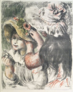 Pierre-Auguste Renoir (French, 1841-1919). <em>Pinning the Hat (Le Chapeau épinglé)</em>, ca. 1898. Lithograph on laid paper, 23 5/8 x 19 3/16 in. (60 x 48.8 cm). Brooklyn Museum, Ella C. Woodward Memorial Fund, 41.1090 (Photo: Brooklyn Museum, 41.1090_transp1469.jpg)