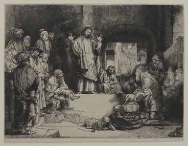 Rembrandt Harmensz. van Rijn (Dutch, 1606-1669). <em>Christ Preaching (La Petite tombe)</em>, ca. 1652. Etching and drypoint on laid paper, Plate: 6 1/8 x 8 1/8 in. (15.6 x 20.6 cm). Brooklyn Museum, Gift of Harold K. Hochschild, 41.1106 (Photo: , 41.1106_PS9.jpg)