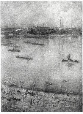 James Abbott McNeill Whistler (American, 1834-1903). <em>The Thames</em>, 1896. Linotint on paper, Sheet: 12 7/16 x 8 1/2 in. (31.6 x 21.6 cm). Brooklyn Museum, Gift of Harold K. Hochschild, 41.1115 (Photo: Brooklyn Museum, 41.1115_bw_SL1.jpg)