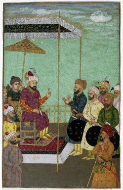 Indian. <em>Reception Scene</em>, mid-17th-early 18th century (?). Opaque watercolor and gold on paper, sheet: 8 9/16 x 5 1/2 in. (21.7 x 14 cm). Brooklyn Museum, A. Augustus Healy Fund, 41.1175 (Photo: Brooklyn Museum, 41.1175_IMLS_SL2.jpg)