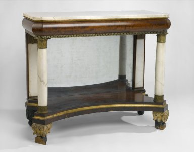 American. <em>Pier Table or Console</em>, 1820-1830. Mahogany, marble, mirrored glass, metal mounts, 35 x 19 x 42 in. (88.9 x 48.2 x 106.7 cm). Brooklyn Museum, Maria L. Emmons Fund, 41.1179. Creative Commons-BY (Photo: Brooklyn Museum, 41.1179_PS1.jpg)