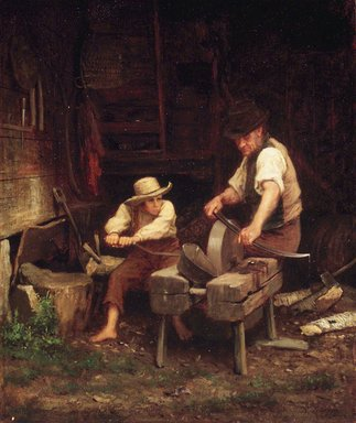Eastman Johnson (American, 1824-1906). <em>Sharpening the Scythe</em>, ca. 1865. Oil, 15 7/16 x 13in. (39.2 x 33cm). Brooklyn Museum, Gift of Mr. and Mrs. H. Edward Dreier, 41.1191 (Photo: Brooklyn Museum, 41.1191_transp1474.jpg)