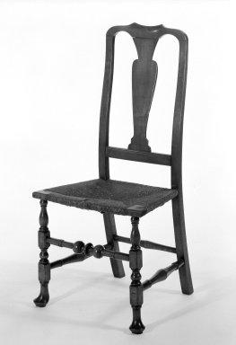 <em>Side Chair</em>, 1725-1750. Maple, 40 1/2 x 14 9/16 x 18 1/2 in. (102.9 x 37 x 47 cm). Brooklyn Museum, Gift of Mrs. Francis P. Garvan in memory of Francis P. Garvan, 41.1204.1. Creative Commons-BY (Photo: Brooklyn Museum, 41.1204.1_bw.jpg)