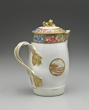 <em>Jug</em>, 1800-1810. Porcelain, Height: 10 1/4 in. (26 cm). Brooklyn Museum, Gift of the Wyckoff Family, 41.1212a-b. Creative Commons-BY (Photo: Brooklyn Museum, 41.1212_PS6.jpg)