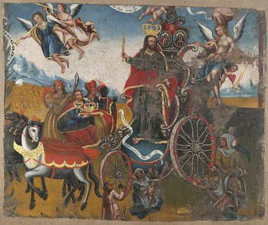 Unknown. <em>Triumph of Christ the King with the four continents</em>, 18th century. Oil on canvas, Fragment: 38 x 46 3/4 in. (96.5 x 118.7 cm). Brooklyn Museum, Carll H. de Silver Fund, 41.1254 (Photo: Brooklyn Museum, 41.1254_PS6.jpg)