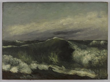 Gustave Courbet (French, 1819-1877). <em>The Wave (La Vague)</em>, ca. 1869. Oil on canvas, 25 3/4 x 34 15/16 x 3in. (65.4 x 88.7 x 7.6cm). Brooklyn Museum, Gift of Mrs. Horace O. Havemeyer, 41.1256 (Photo: Brooklyn Museum, 41.1256_PS9.jpg)