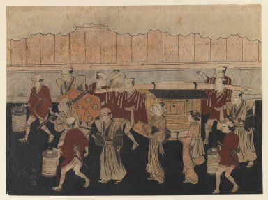 Suzuki Harunobu (Japanese, 1724-1770). <em>The Bride's Trip to her Husband's House, from The Marriage Ceremonies</em>, ca. 1768. Color woodblock print on paper, 8 1/16 x 10 7/8 in. (20.5 x 27.4 cm). Brooklyn Museum, Gift of Mrs. Horace O. Havemeyer, 41.1264 (Photo: Brooklyn Museum, 41.1264_IMLS_PS3.jpg)