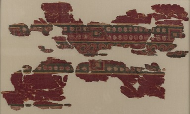 <em>Tiraz Fragment of Caliph Marwan II</em>, late 7th-8th century. Silk, compound twill weave, 3 1/2 x 4 in. (8.9 x 10.2 cm). Brooklyn Museum, Gift of Pratt Institute, 41.1265. Creative Commons-BY (Photo: Brooklyn Museum, 41.1265_PS2.jpg)