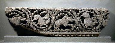 Coptic. <em>Frieze of Animals in Plant Scrolls</em>, 4th century C.E. Limestone, pigment, 14 3/8 x 50 3/16 x 4 5/8 in., 131 lb. (36.5 x 127.5 x 11.7 cm, 59.42kg). Brooklyn Museum, Charles Edwin Wilbour Fund, 41.1266. Creative Commons-BY (Photo: Brooklyn Museum, 41.1266_SL1.jpg)