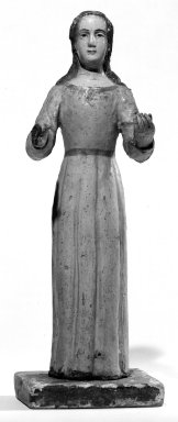 Unknown. <em>Standing Figure Representing Virgin Mary with Hands Outstretched</em>. Wood, 14 x 5 x 4 in. (35.6 x 12.7 x 10.2 cm). Brooklyn Museum, Museum Expedition 1941, Frank L. Babbott Fund, 41.1273.12. Creative Commons-BY (Photo: Brooklyn Museum, 41.1273.12_bw.jpg)