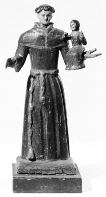 Unknown. <em>Standing Figure of San Antonio with Christ Child in One Hand</em>. Wood, 10 x 5 x 4 in. (25.4 x 12.7 x 10.2 cm). Brooklyn Museum, Museum Expedition 1941, Frank L. Babbott Fund, 41.1273.13. Creative Commons-BY (Photo: Brooklyn Museum, 41.1273.13_bw.jpg)