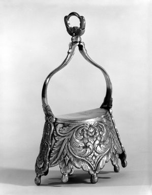 <em>Pair of Stirrups of the Crown Type</em>, 19th century. Silver, each: 8 1/4 x 5 7/16 x 2 9/16in. (21 x 13.8 x 6.5cm). Brooklyn Museum, Museum Expedition 1941, Frank L. Babbott Fund, 41.1273.16a-b. Creative Commons-BY (Photo: Brooklyn Museum, 41.1273.16a_bw.jpg)