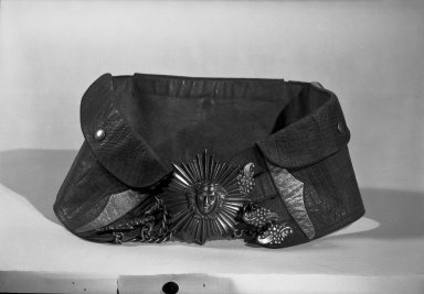 <em>Belt</em>. Leather, silver Brooklyn Museum, Museum Expedition 1941, Frank L. Babbott Fund, 41.1273.34. Creative Commons-BY (Photo: Brooklyn Museum, 41.1273.34_acetate_bw.jpg)