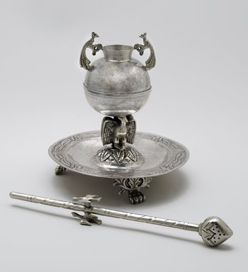 <em>Maté Cup(a) and Bombilla(b)</em>, 19th century. Silver, a: 6 11/16 x 6 5/16 in. (17 x 16 cm). Brooklyn Museum, Museum Expedition 1941, Frank L. Babbott Fund, 41.1274.14a-b. Creative Commons-BY (Photo: Brooklyn Museum, 41.1274.14a-b_PS6.jpg)