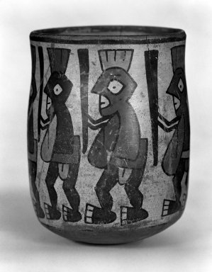 Nazca. <em>Jar with Human Figures Holding Staffs</em>. Ceramic, pigment Brooklyn Museum, Museum Expedition 1941, Frank L. Babbott Fund, 41.1275.102. Creative Commons-BY (Photo: Brooklyn Museum, 41.1275.102_bw.jpg)