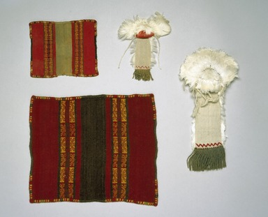 Inca. <em>Miniature Headdress</em>, 1400-1532. Cotton, camelid fiber, feathers, 10 1/4 x 5 1/8 in. (26.0 x 13.0 cm). Brooklyn Museum, Museum Expedition 1941, Frank L. Babbott Fund, 41.1275.108a. Creative Commons-BY (Photo: , 41.1275.107_41.1275.108a-b_41.1275.110_IMLS.jpg)