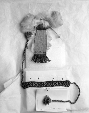 Inca. <em>Miniature Headdress</em>, 1400-1532. Camelid fiber, feathers, 5 5/16 x 4 5/16 in. (13.5 x 11 cm). Brooklyn Museum, Museum Expedition 1941, Frank L. Babbott Fund, 41.1275.108c. Creative Commons-BY (Photo: Brooklyn Museum, 41.1275.108c_overall_bw.jpg)