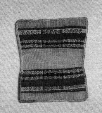 Inca. <em>Miniature Mantle or Dress</em>, 1400-1532. Camelid fiber, 5 7/8in x 4 15/16in (15cm x 12.5cm). Brooklyn Museum, Museum Expedition 1941, Frank L. Babbott Fund, 41.1275.109. Creative Commons-BY (Photo: Brooklyn Museum, 41.1275.109_bw.jpg)