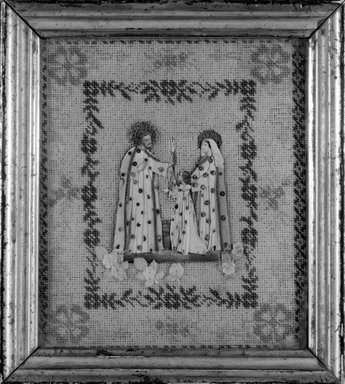 Unknown. <em>Picture of Holy Family</em>, 19th century (probably). Beadwork, paper, rice glue, 9 x 8 in. (22.9 x 20.3 cm). Brooklyn Museum, Museum Expedition 1941, Frank L. Babbott Fund, 41.1275.117 (Photo: Brooklyn Museum, 41.1275.117_bw.jpg)