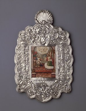Unknown. <em>The Annunciation</em>, 18th century. Oil on paper mouinted on copper plate (painting); silver on wood core (frame), 11 7/8 x 7 1/2 in. (30.2 x 19.1 cm). Brooklyn Museum, Museum Expedition 1941, Frank L. Babbott Fund, 41.1275.13 (Photo: Brooklyn Museum, 41.1275.13_SL3.jpg)