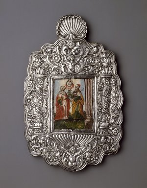 Unknown. <em>The Meeting of Joachim and Anna</em>, 18th century. Oil on paper mounted on copper plate (painting); silver on wood core (frame), frame: 11 7/8 x 7 1/2 x 1/2 in. (30.2 x 19.1 x 1.3 cm). Brooklyn Museum, Museum Expedition 1941, Frank L. Babbott Fund, 41.1275.14 (Photo: Brooklyn Museum, 41.1275.14_SL3.jpg)