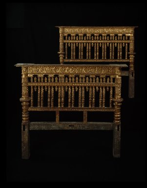 Unknown. <em>Bed (Headboard and Footboard)</em>, 1700-1760. Gilt wood (probably cedar), a, headboard: 55 3/8 x 65 7/8 x 4 3/4 in. (140.7 x 167.3 x 12.1 cm). Brooklyn Museum, Museum Expedition 1941, Frank L. Babbott Fund, 41.1275.165a-b. Creative Commons-BY (Photo: Brooklyn Museum, 41.1275.165a-b_SL3.jpg)