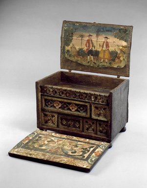 <em>Writing Cabinet (Escritorio)</em>, late 18th-early 19th century. Wood, leather, pigments, and iron fittings, 21 x 21 x 13 in. (53.3 x 53.3 x 33 cm). Brooklyn Museum, Museum Expedition 1941, Frank L. Babbott Fund, 41.1275.167. Creative Commons-BY (Photo: Brooklyn Museum, 41.1275.167_SL3.jpg)