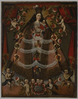 Cuzco School. <em>Our Lady of Pomata</em>, 1675. Oil on canvas, 44 3/4 x 35 1/2in. (113.7 x 90.2cm). Brooklyn Museum, Museum Expedition 1941, Frank L. Babbott Fund, 41.1275.177 (Photo: Brooklyn Museum, 41.1275.177_PS6.jpg)