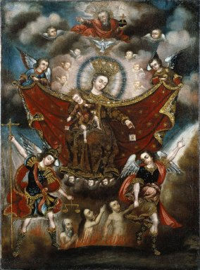 Circle of Diego Quispe Tito (Peruvian (Cuzco), 1611-1681). <em>Virgin of Carmel Saving Souls in Purgatory</em>, late 17th century. Oil on canvas, 41 x 29 in. (104.1 x 73.7 cm). Brooklyn Museum, Museum Expedition 1941, Frank L. Babbott Fund, 41.1275.178 (Photo: Brooklyn Museum, 41.1275.178_SL1.jpg)