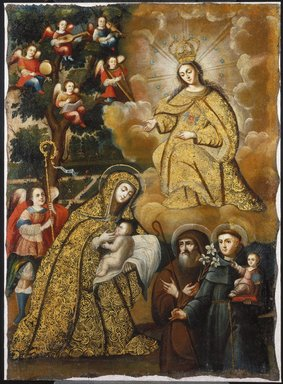 Circle of Mauricio García. <em>The Virgin of Mercy with Three Saints</em>, mid-18th century. Oil on canvas, 37 5/8 x 26 5/8 in.  (95.6 x 67.6 cm). Brooklyn Museum, Museum Expedition 1941, Frank L. Babbott Fund, 41.1275.181 (Photo: Brooklyn Museum, 41.1275.181_SL1.jpg)