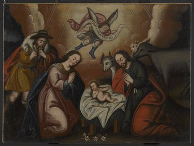 Cuzco School. <em>The Nativity</em>, mid-18th century. Oil on canvas, 29 3/8 x 39 1/2 in. (74.6 x 100.3 cm). Brooklyn Museum, Museum Expedition 1941, Frank L. Babbott Fund, 41.1275.185 (Photo: Brooklyn Museum, 41.1275.185_PS6.jpg)