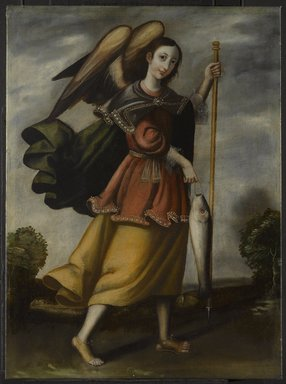 Unknown. <em>Archangel Raphael</em>, late 17th or early 18th century. Oil on burlap, 32 1/4 x 24 1/8in. (81.9 x 61.3cm). Brooklyn Museum, Museum Expedition 1941, Frank L. Babbott Fund, 41.1275.187 (Photo: Brooklyn Museum, 41.1275.187_PS6.jpg)