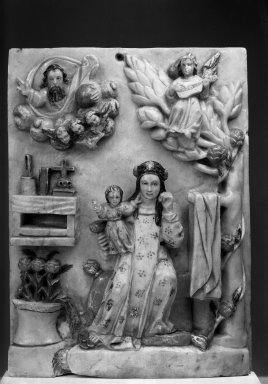 Unknown. <em>Plaque with Reposing Figure- St. Rose of Lima with Christ Child</em>, second half eighteenth century. Stone; huamanga stone carved relief, 8 1/2 x 6 1/4 x 1 1/2 in. Brooklyn Museum, Museum Expedition 1941, Frank L. Babbott Fund, 41.1275.196. Creative Commons-BY (Photo: Brooklyn Museum, 41.1275.196_acetate_bw.jpg)