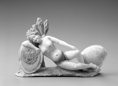 <em>Allegorical Female Figure with Peruvian Coat of Arms</em>. Stone; Huamanga stone, 5 x 7 1/8 x 2 3/8 in. Brooklyn Museum, Museum Expedition 1941, Frank L. Babbott Fund, 41.1275.203. Creative Commons-BY (Photo: Brooklyn Museum, 41.1275.203_bw.jpg)