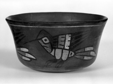 Nazca. <em>Small Bowl</em>, 400-1000 C.E. Ceramic material, pigment, 2 3/4 x 4 3/4 x 4 3/4 in. (7 x 12.1 x 12.1 cm). Brooklyn Museum, Museum Expedition 1941, Frank L. Babbott Fund, 41.1275.21. Creative Commons-BY (Photo: Brooklyn Museum, 41.1275.21_bw.jpg)