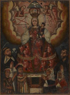 Unknown. <em>The Virgin Mary with Christ Child, Saint Dominic, Saint Francis, and Indigenous Worshippers</em>, late 18th century. Oil on panel, panel: 14 x 10 3/8 in. (35.6 x 26.4 cm). Brooklyn Museum, Museum Expedition 1941, Frank L. Babbott Fund, 41.1275.224 (Photo: Brooklyn Museum, 41.1275.224_PS9.jpg)
