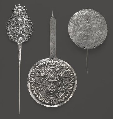 <em>Large Pin (Tupu)</em>, 18th century. Silver, 14 7/8 x 3 7/16 in. (37.8 x 8.7 cm). Brooklyn Museum, Museum Expedition 1941, Frank L. Babbott Fund, 41.1275.242. Creative Commons-BY (Photo: , 41.1275.238_41.1275.241_41.1275.242_PS6.jpg)