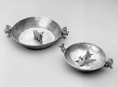 <em>Bowl with bull effigy</em>, Colonial (18th-19th century). Metal: Silver, 1 1/2 x 5 1/8 x 3 13/16 in. Brooklyn Museum, Museum Expedition 1941, Frank L. Babbott Fund, 41.1275.249. Creative Commons-BY (Photo: , 41.1275.249_41.1275.282_bw.jpg)