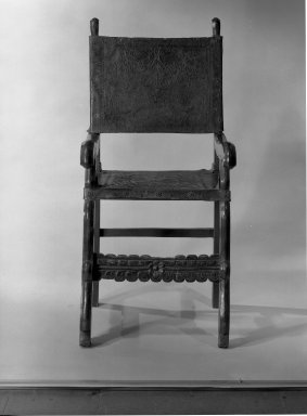 <em>Armchair with Tooled Seat and Back</em>. Wood, leather Brooklyn Museum, Museum Expedition 1941, Frank L. Babbott Fund, 41.1275.26. Creative Commons-BY (Photo: Brooklyn Museum, 41.1275.26_acetate_bw.jpg)