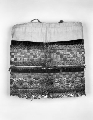 <em>Overskirt from Man's Festival Costume</em>, 19th century. Cotton, velvet, silk, bark strips, paper, metallic threads and beads, 22 1/16 × 22 1/16 × 3 15/16 in. (56 × 56 × 10 cm). Brooklyn Museum, Museum Expedition 1941, Frank L. Babbott Fund, 41.1275.274b. Creative Commons-BY (Photo: Brooklyn Museum, 41.1275.274b_bw.jpg)