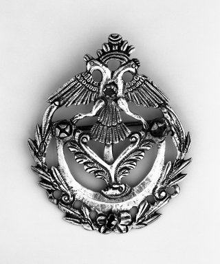 <em>Brooch</em>. Silver, 3 1/4 x 2 5/8 in. Brooklyn Museum, Museum Expedition 1941, Frank L. Babbott Fund, 41.1275.285. Creative Commons-BY (Photo: Brooklyn Museum, 41.1275.285_bw.jpg)