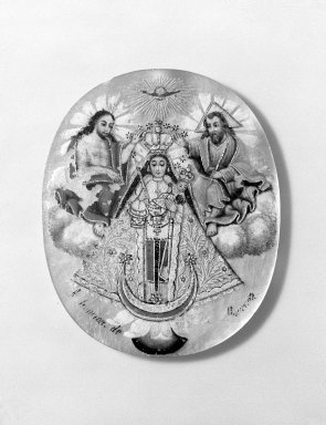<em>Medallion with Religious Scenes</em>. Mother of pearl, paint Brooklyn Museum, Museum Expedition 1941, Frank L. Babbott Fund, 41.1275.384. Creative Commons-BY (Photo: Brooklyn Museum, 41.1275.384_front_bw.jpg)