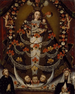 Unknown. <em>Virgin of Pomata with St. Nicholas Tolentino and St. Rose of Lima</em>, 1700-1750. Oil on canvas, 26 x 21 in. (66 x 53.3 cm). Brooklyn Museum, Museum Expedition 1941, Frank L. Babbott Fund, 41.1275.400 (Photo: Brooklyn Museum, 41.1275.400_SL3.jpg)