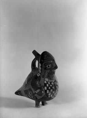 Nazca. <em>Vessel in Form of an Anthropomorphic Bird</em>. Ceramic, pigment, 8 x 5 x 6 3/4 in. (20.3 x 12.7 x 17.1 cm). Brooklyn Museum, Museum Expedition 1941, Frank L. Babbott Fund, 41.1275.55. Creative Commons-BY (Photo: Brooklyn Museum, 41.1275.55_acetate_bw.jpg)