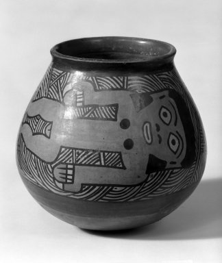 Nazca. <em>Jar with Swimmers</em>, 1-350 C.E. Clay, slips, 4 5/8 x 4 3/4 in.  (11.7 x 12.1 cm). Brooklyn Museum, Museum Expedition 1941, Frank L. Babbott Fund, 41.1275.56. Creative Commons-BY (Photo: Brooklyn Museum, 41.1275.56_bw.jpg)