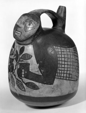 Nazca. <em>Globular Jar with Modeled Human Head</em>, 400-500 CE. Ceramic, pigment, 6 3/4 x 5 1/4 x 6 in. (17.1 x 13.3 x 15.2 cm). Brooklyn Museum, Museum Expedition 1941, Frank L. Babbott Fund, 41.1275.57. Creative Commons-BY (Photo: Brooklyn Museum, 41.1275.57_view1_bw.jpg)